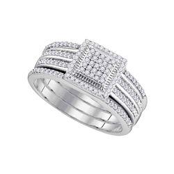 0.35 CTW Diamond 3-Piece Cluster Bridal Engagement Ring 10KT White Gold - REF-37H5M