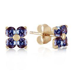 Genuine 1.15 ctw Tanzanite Earrings Jewelry 14KT Yellow Gold - REF-22N7R