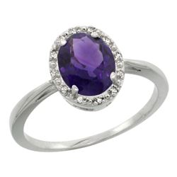 Natural 1.22 ctw Amethyst & Diamond Engagement Ring 14K White Gold - REF-27H2W