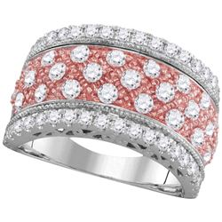 1.5 CTW Diamond 2-tone Rose Pink Ring 14KT White Gold - REF-172N4F