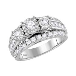 1.96 CTW Diamond 3-Stone Bridal Engagement Ring 14KT White Gold - REF-209Y9X