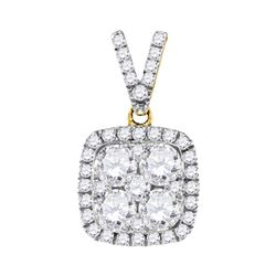 1.35 CTW Diamond Square Cluster Pendant 10KT Yellow Gold - REF-209N9F
