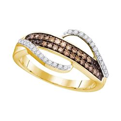 0.33 CTW Cognac-brown Color Diamond Ring 10KT Yellow Gold - REF-24X2Y