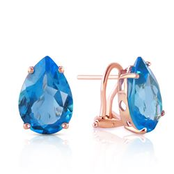Genuine 10 ctw Blue Topaz Earrings Jewelry 14KT Rose Gold - REF-50P7H