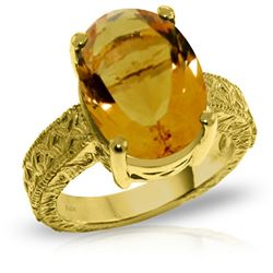 Genuine 6.5 ctw Citrine Ring Jewelry 14KT Yellow Gold - REF-124V8W