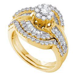 1.2 CTW Diamond Bridal Wedding Engagement Ring 14KT Yellow Gold - REF-119F9N