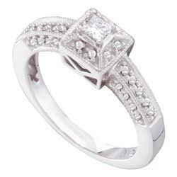 0.30 CTW Princess Diamond Solitaire Bridal Engagement Ring 14KT White Gold - REF-64H4M