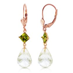 Genuine 11 ctw White Topaz & Peridot Earrings Jewelry 14KT Rose Gold - REF-39K3V
