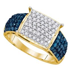 1 CTW Blue Color Diamond Rectangle Cluster Ring 10KT Yellow Gold - REF-52X4Y