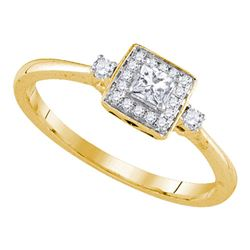0.25 CTW Princess Diamond Solitaire Bridal Engagement Ring 14KT Yellow Gold - REF-37W5K