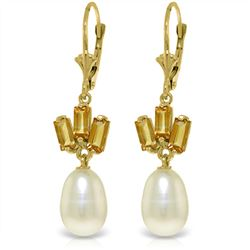 Genuine 9.35 ctw Pearl & Citrine Earrings Jewelry 14KT Yellow Gold - REF-26K6V