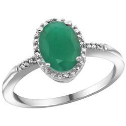 Natural 1.5 ctw Emerald & Diamond Engagement Ring 14K White Gold - REF-32M7H