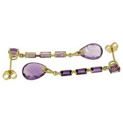 Genuine 8.6 ctw Amethyst Earrings Jewelry 14KT White Gold - REF-43P3H