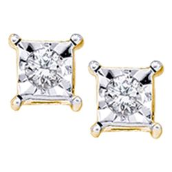 0.05 CTW Diamond Solitaire Square Stud Earrings 10KT Yellow Gold - REF-8Y2X