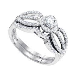 0.50 CTW Diamond Bridal Wedding Engagement Ring 10KT White Gold - REF-52H4M