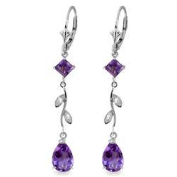 Genuine 3.97 ctw Amethyst & Diamond Earrings Jewelry 14KT White Gold - REF-44Z9N