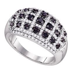 1 CTW Black Color Diamond Lattice Ring 10KT White Gold - REF-67X4Y