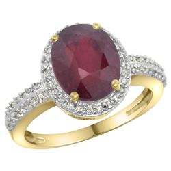 Natural 2.56 ctw Ruby & Diamond Engagement Ring 14K Yellow Gold - REF-46H9W