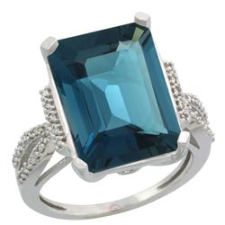 Natural 12.14 ctw London-blue-topaz & Diamond Engagement Ring 14K White Gold - REF-69F9N