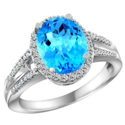 Natural 2.72 ctw swiss-blue-topaz & Diamond Engagement Ring 14K White Gold - REF-54G4M