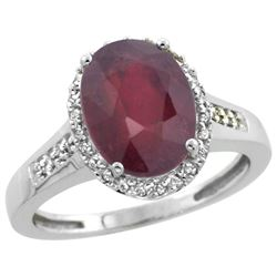 Natural 2.49 ctw Ruby & Diamond Engagement Ring 14K White Gold - REF-46A9V
