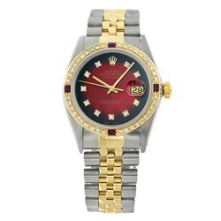 Rolex Pre-owned 36mm Mens Red Vignette Two Tone - REF-610W2Y