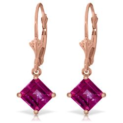 Genuine 3.2 ctw Pink Topaz Earrings Jewelry 14KT Rose Gold - REF-31V2W
