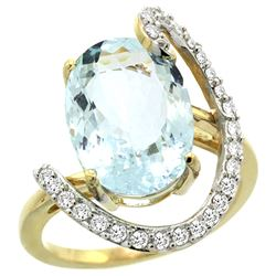 Natural 5.91 ctw Aquamarine & Diamond Engagement Ring 14K Yellow Gold - REF-121V3F