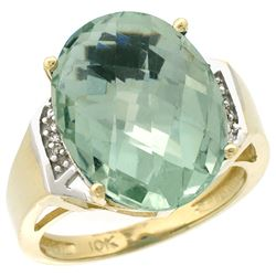 Natural 11.02 ctw Green-amethyst & Diamond Engagement Ring 10K Yellow Gold - REF-50W9K