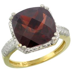 Natural 5.96 ctw Garnet & Diamond Engagement Ring 14K Yellow Gold - REF-49K9R