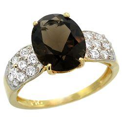 Natural 2.75 ctw smoky-topaz & Diamond Engagement Ring 14K Yellow Gold - REF-58R4Z