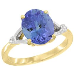 Natural 2.4 ctw Tanzanite & Diamond Engagement Ring 10K Yellow Gold - REF-70X8A