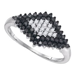 0.50 CTW Black Color Diamond Cluster Ring 10KT White Gold - REF-22Y4X