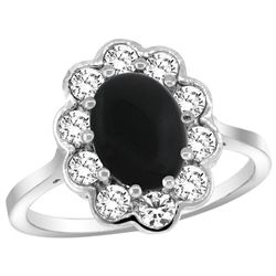 Natural 2.38 ctw Onyx & Diamond Engagement Ring 14K White Gold - REF-79V6F