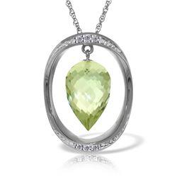 Genuine 9.6 ctw Amethyst & Diamond Necklace Jewelry 14KT White Gold - REF-109Z6N