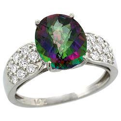 Natural 2.75 ctw mystic-topaz & Diamond Engagement Ring 14K White Gold - REF-58H4W