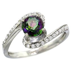 Natural 1.24 ctw mystic-topaz & Diamond Engagement Ring 10K White Gold - REF-42X9A