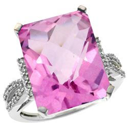 Natural 12.14 ctw Pink-topaz & Diamond Engagement Ring 14K White Gold - REF-66Y2X