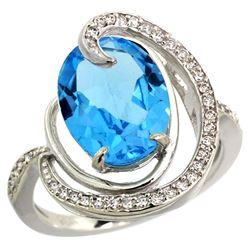 Natural 6.53 ctw swiss-blue-topaz & Diamond Engagement Ring 14K White Gold - REF-72R8Z