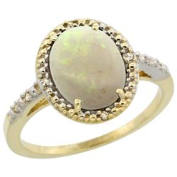 Natural 1.43 ctw Opal & Diamond Engagement Ring 10K Yellow Gold - REF-24M8H