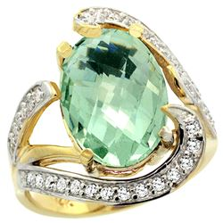 Natural 6.22 ctw green-amethyst & Diamond Engagement Ring 14K Yellow Gold - REF-134Z9Y