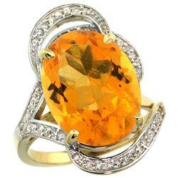 Natural 11.23 ctw citrine & Diamond Engagement Ring 14K Yellow Gold - REF-104N5G