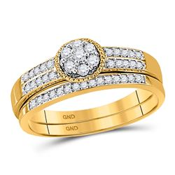 0.25 CTW Diamond Cluster Bridal Engagement Ring 10KT Yellow Gold - REF-25N4F