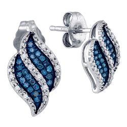 0.15 CTW Blue Color Diamond Cluster Earrings 10KT White Gold - REF-19H4M