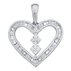 0.15 CTW Diamond Heart Pendant 14KT White Gold - REF-19F4N
