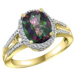Natural 2.72 ctw mystic-topaz & Diamond Engagement Ring 10K Yellow Gold - REF-45K3R