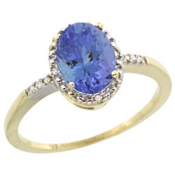 Natural 1.33 ctw Tanzanite & Diamond Engagement Ring 14K Yellow Gold - REF-45G8M