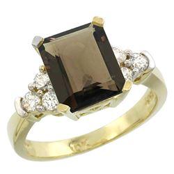 Natural 2.86 ctw smoky-topaz & Diamond Engagement Ring 10K Yellow Gold - REF-53R5Z