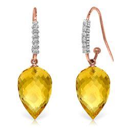 Genuine 19.18 ctw Citrine & Diamond Earrings Jewelry 14KT Rose Gold - REF-52T9A