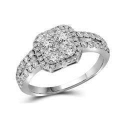1.25 CTW Diamond Square-shape Cluster Split-shank Ring 10KT White Gold - REF-146F9N